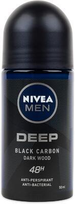 NIVEA MEN ANTIPERSPIRANT ROLL-ON DEEP BLACK CARBON DARKWOOD 50 ML