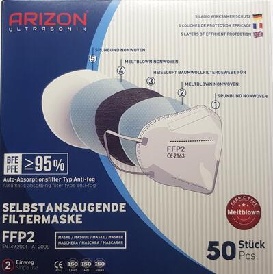 ARIZON ULTRASONIC RESPIRATOR FFP2 BÍLÝ 50 KS - 3