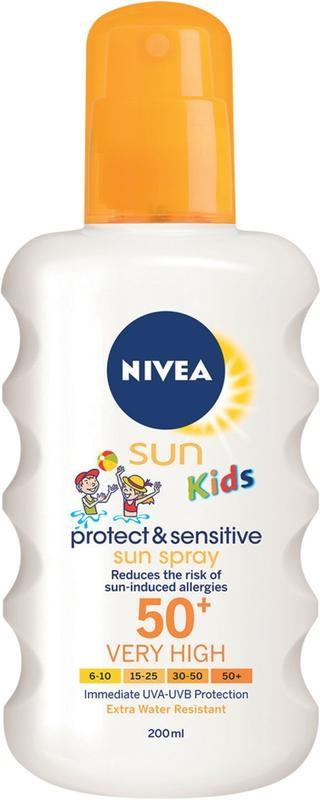 NIVEA SUN KIDS PROTECT&SENSITIVE SUN SPRAY SPF50+ SPRAY NA OPALOVÁNÍ 200 ML
