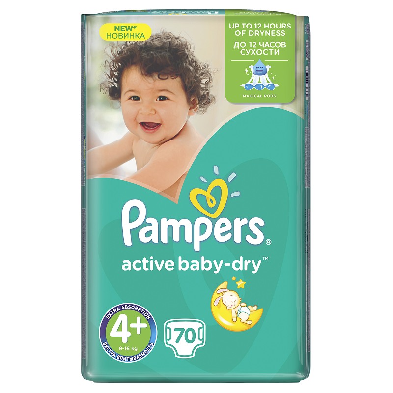 PAMPERS ACTIVE BABY PLENY GIANTPACK MAXI+ 70 KS 9-16 KG