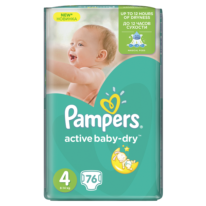 PAMPERS ACTIVE BABY PLENY GIANTPACK MAXI 76 KS 7-14 KG